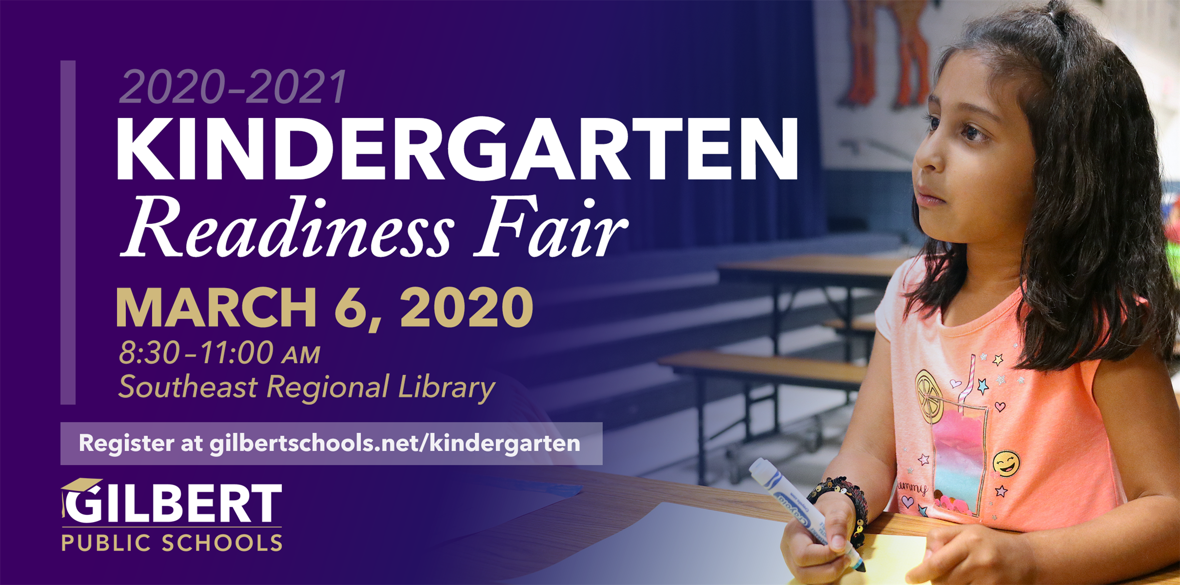 Kindergarten Readiness Fair -March 6, 2020 from 8:30–11:00 a.m. at Southeast Regional Library, Gilbert AZ