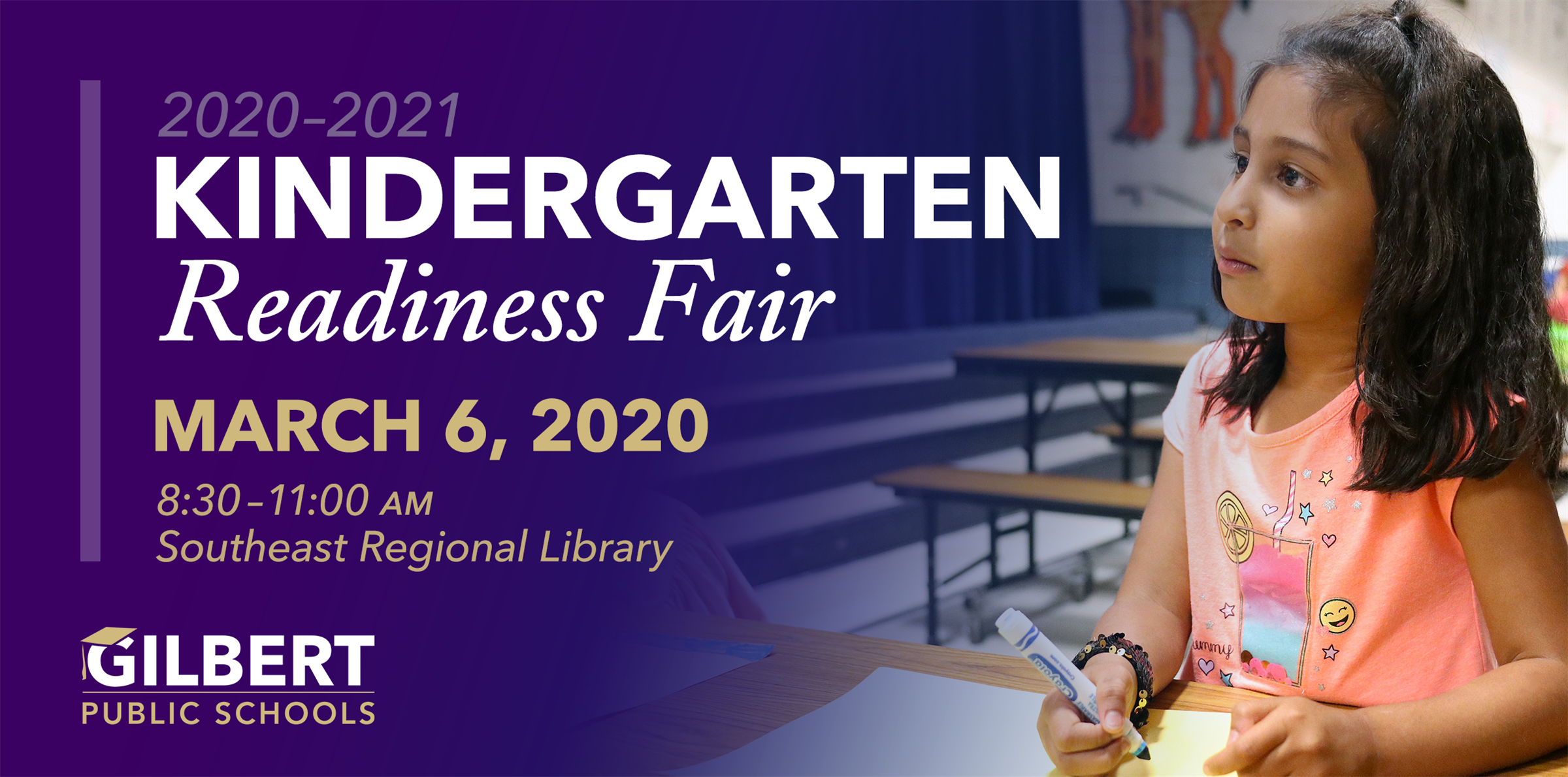 Kindergarten Readiness Fair | March 6, 2020 8:30–11:00 a.m. | Southeast Regional Library (775 N Greenfield Rd, Gilbert, AZ 85