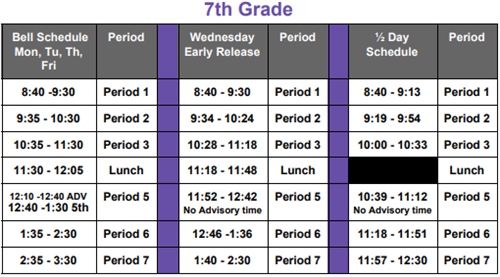 7th Grade Learning Schedule