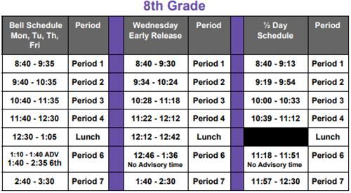 8th Grade Learning Schedule