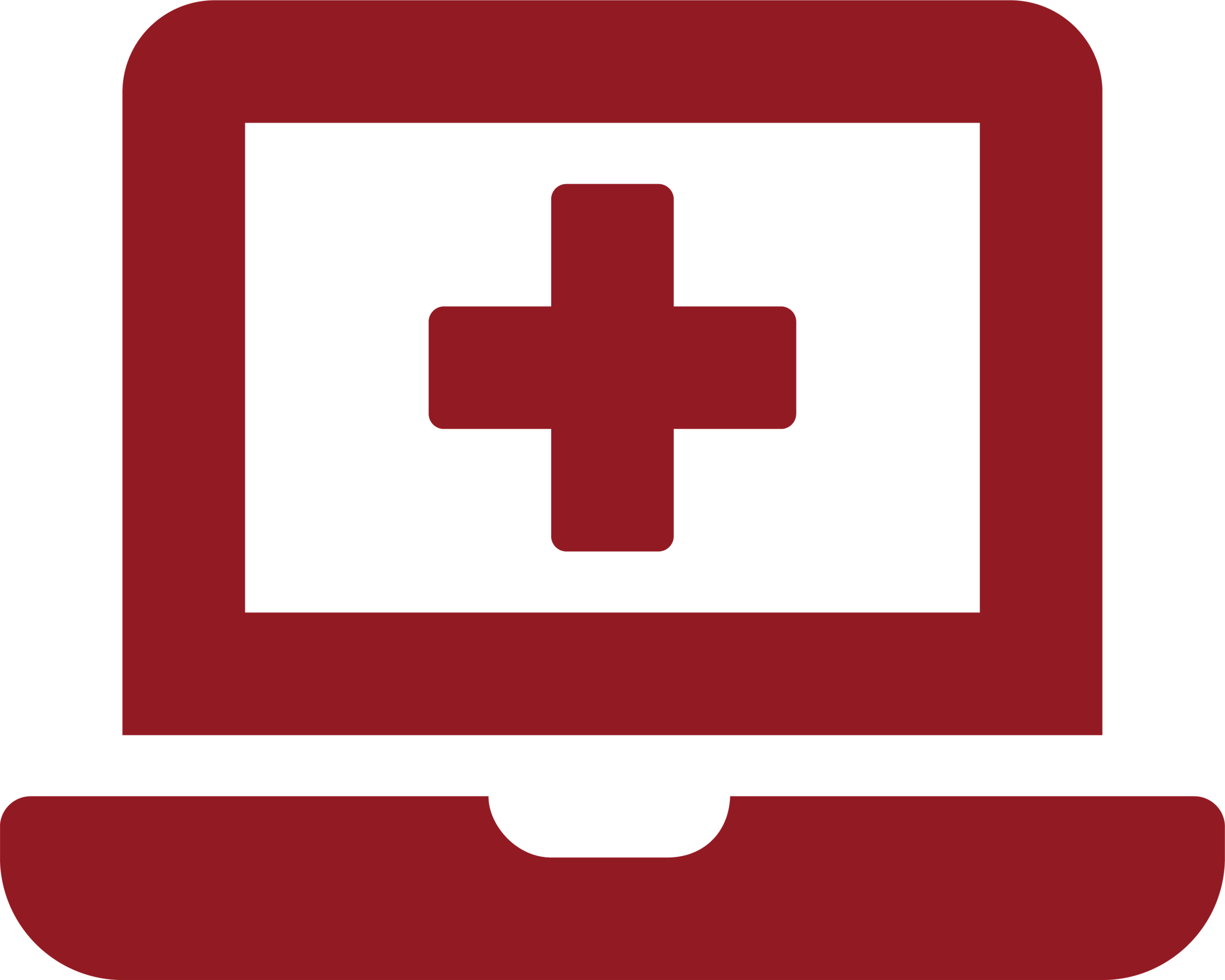 Medical cross on laptop