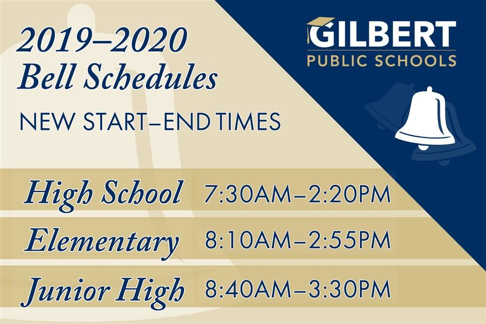 Gilbert Public Schools Bell Schedule Time Changes for 2019–2020