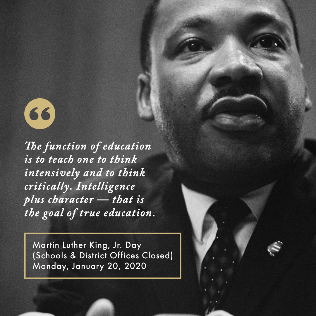 Martin Luther King Jr. Day School & Offices Closed January 20, 2020