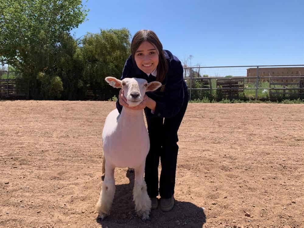 FFA Student Kira with her lamb