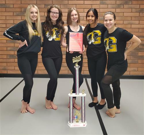 Danceworks students with trophy