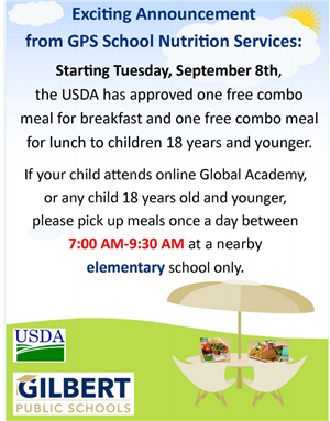 Free Breakfast and Lunch for all students starting September 8th