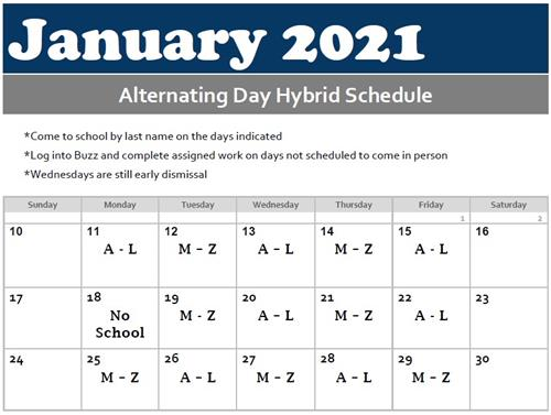 Alternating hybrid schedule for January 2021