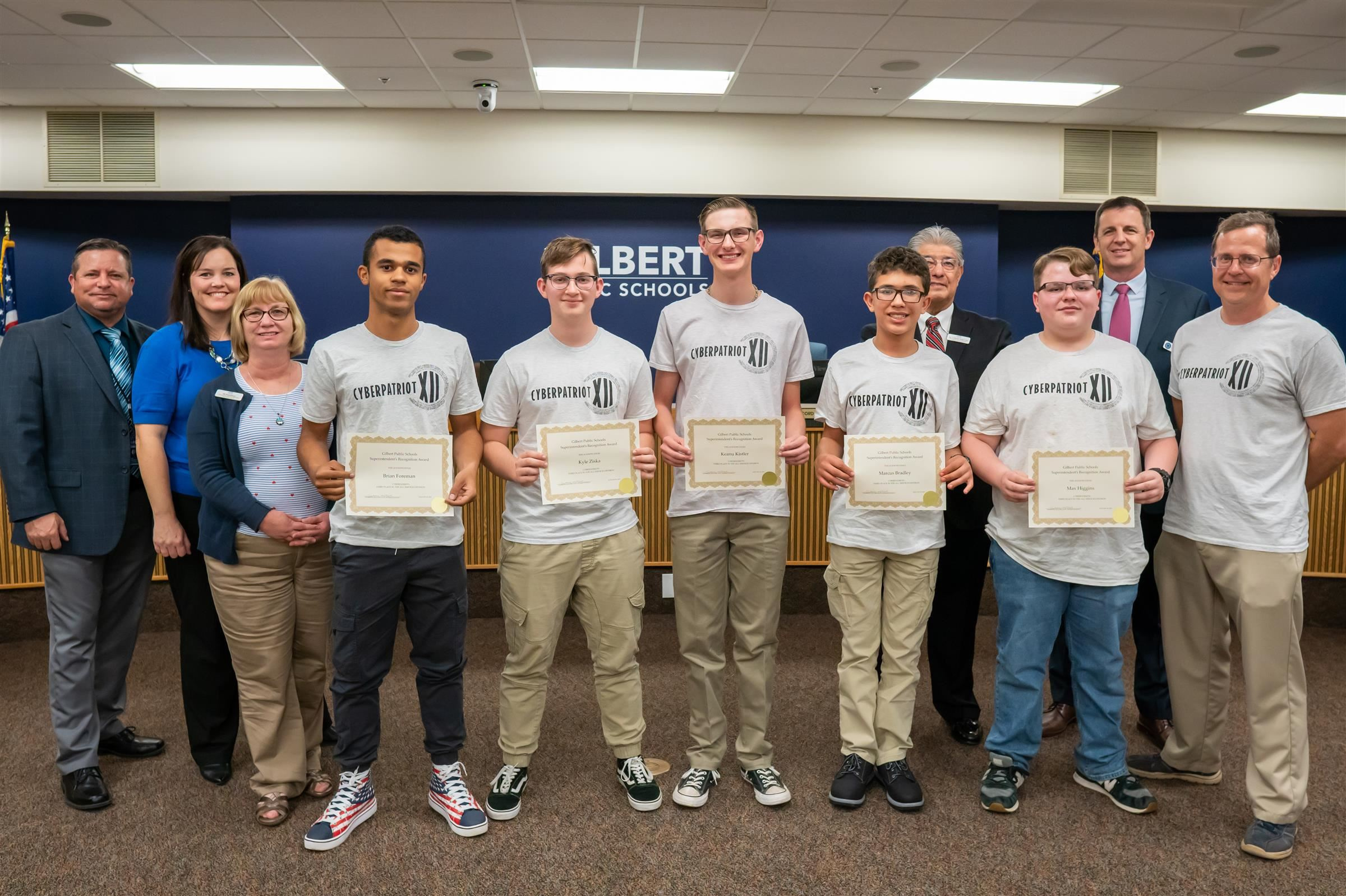 Desert Ridge High Cyberpatriots team members were recognized for placing third in State competition.