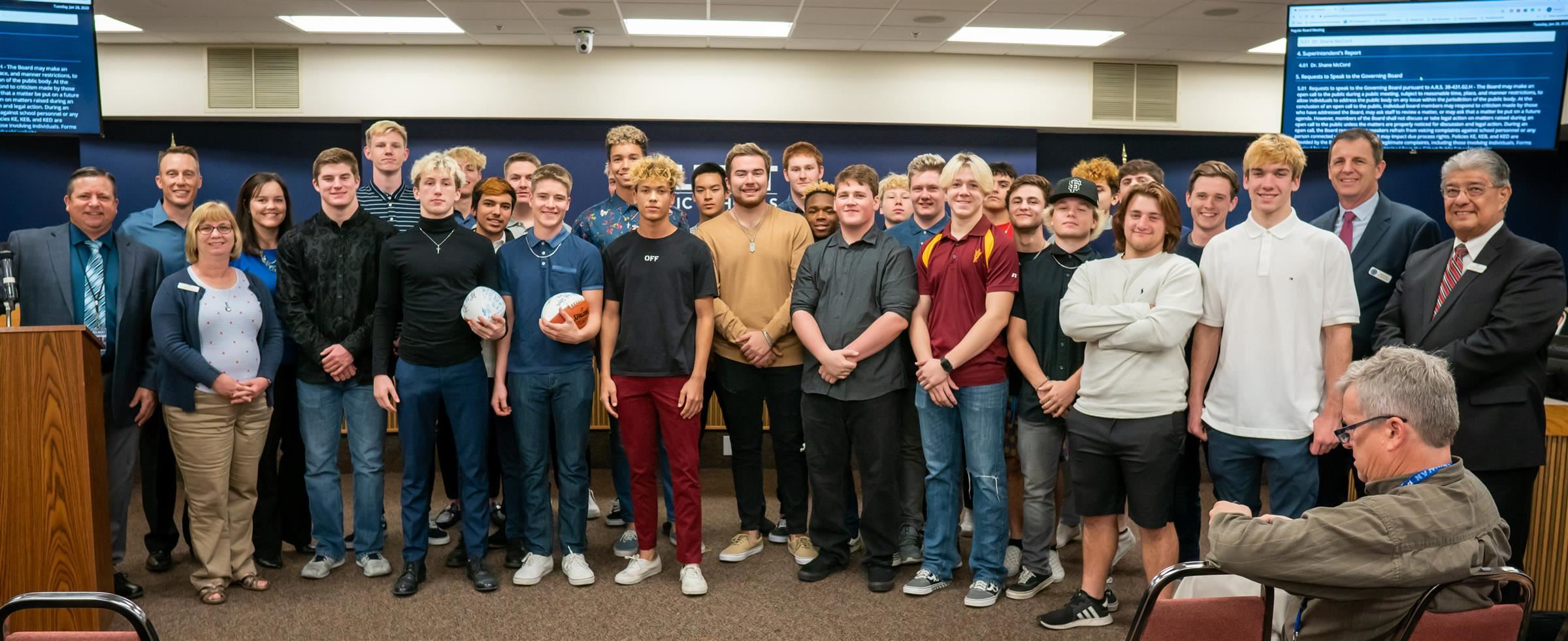 Mesquite High Football team were recognized as 4A State Football Champions.